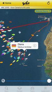 Position der Diana am 6. Tag der Atlantiküberquerung